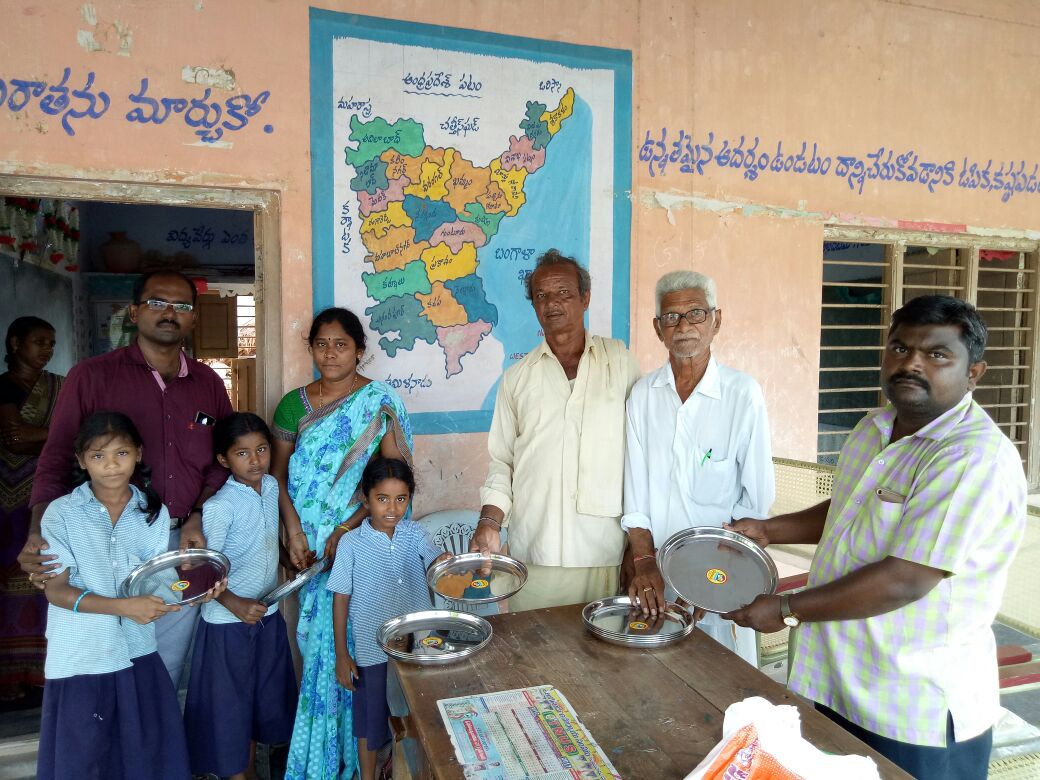 Food utensils donation to MPPS Tummalakunta,Guntur, AP